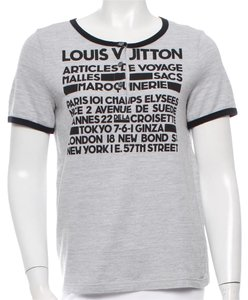 Louis Vuitton Lv Logo Embellished Cotton T Shirt Grey, Black