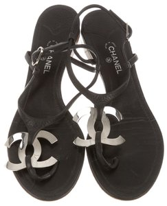 Chanel Ankle Strap Silver Hardware Interlocking Cc Logo Leather Black, Silver Sandals