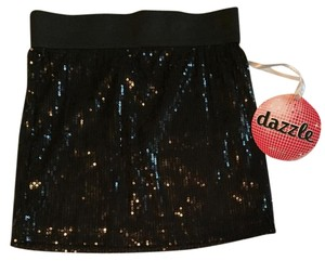 Wet Seal Black Mini Sequin Black Sequin Sexy Mini Skirt