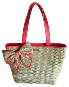Kate Spade Tote in straw and hot pink/orange