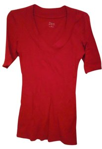 Express V-neck Cotton Modal T Shirt Red