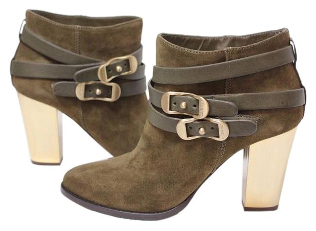 Item - Khaki Box New Suede Leather Belted Metallic Gold Block Boots/Booties Size EU 39.5 (Approx. US 9.5) Regular (M, B)