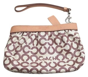 Coach Wristlet in Tan / White
