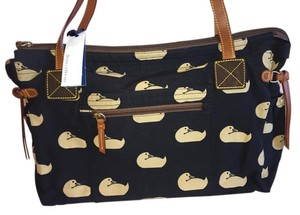 Dooney & Bourke black fabric, tan logo, brown and dark brown sueded leahter accents, gold hardware Diaper Bag