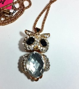 Betsey Johnson New Gold Tone Betsey Johnson Owl Necklace J3034