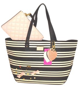 Betsey Johnson Appliques Pouch Tote in black/bone