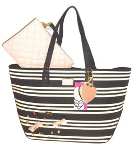 Betsey Johnson Appliques Pouch Stripe Tote in black/bone