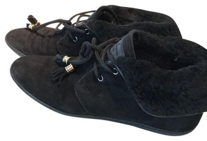 Louis Vuitton Suede Lv Black Flats