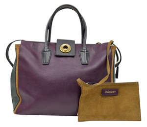 Saint Laurent Muse Two Muse 2 Leather Tote in Purple