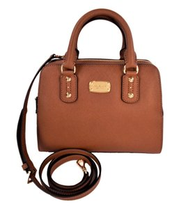 Michael Kors Saffiano Leather Satchel in Luggage