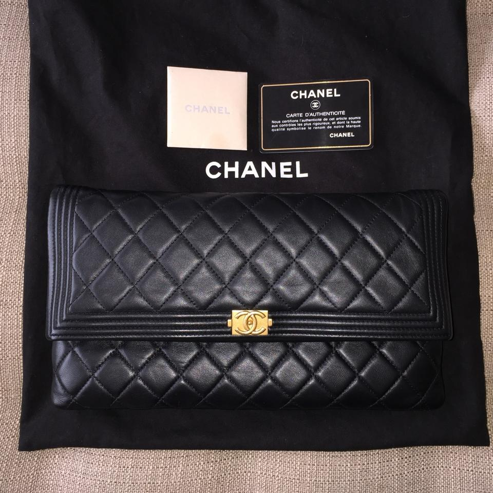 b67a5eb6d913 Chanel Boy Medium/Large Foldover Beauty Lambskin Quilted Cc Large Handbag  Classic Purse Ghw Gold Black Leather Clutch - Tradesy