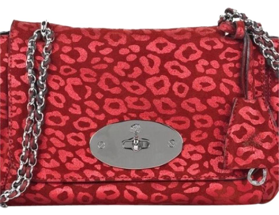 7edb7154a8 Mulberry Lily Leopard-print Red Leather Suede Shoulder Bag - Tradesy