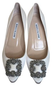 Manolo Blahnik White Satin Pumps