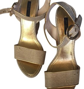 Louis Vuitton Wedge Gold Wedges