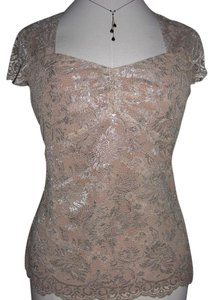 Ann Taylor LOFT Cap Sleeves Shimmer Mettalic Lace Floral Top Gold Shimmer