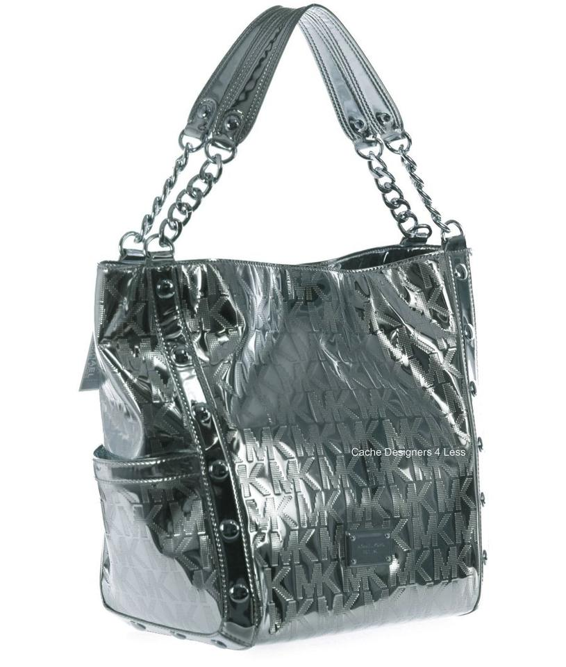 e52e5ec05e11 Michael Kors Delancy Mk Mirror Handbag Silver/Nickle Nickle/Silver Metallic  Leather Tote - Tradesy