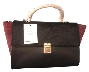 ASOS Satchel in Burgundy & black