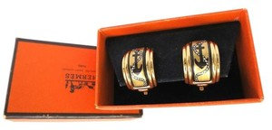 Hermès HERMES Earrings Anchor and Rope Cloisonne Enamel Gold-plated