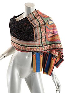 Multi Color Magnificent Wool Shawl/Wrap w/Silk Embroidery