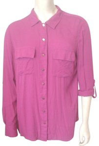 Dalia Pink Long Sleeve Shirt Collection Front Button Top Fuscia