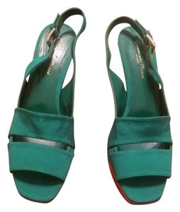 Gianvito Rossi Emerald Green & brown Wedges
