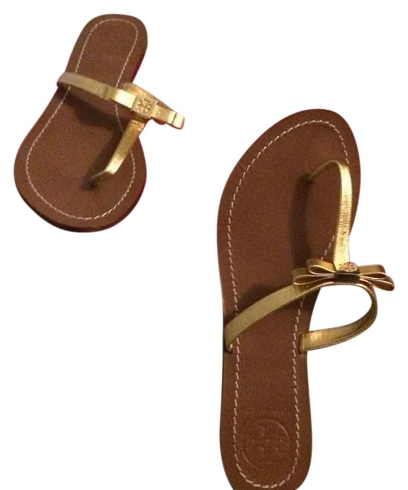 Tory Burch Leighanne Gold Leighanne Burch Flat Thong Sandals 781461