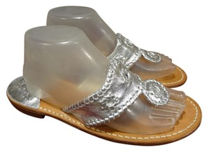 Jack Rogers Leather Comfortable SILVER Sandals