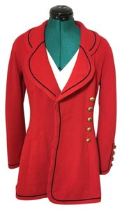 Chanel Vintage Gold Wool Red with Black Trim Blazer