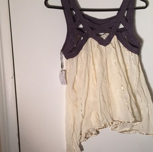 Free People Top Cream with purple detail