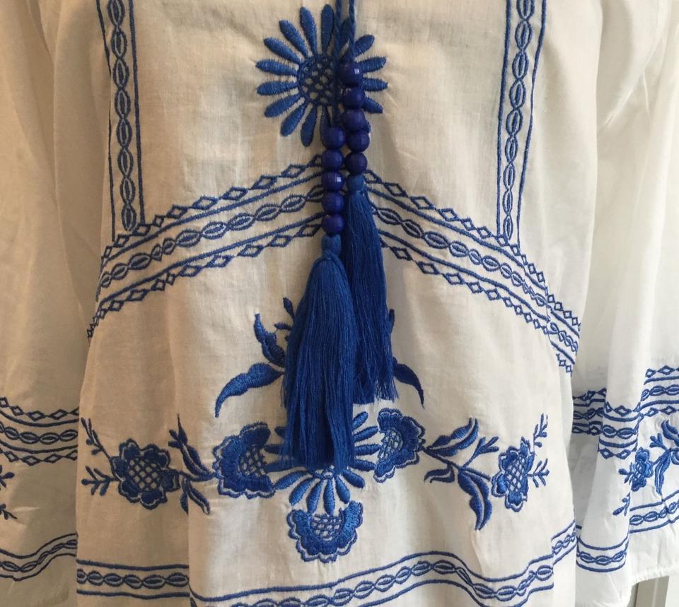 Sundance white blue vintage vibe embroidery summer of xl