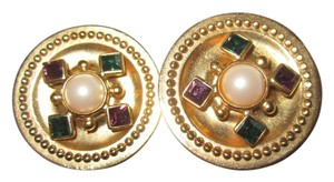 Ben-Amun Pearl Cabochon Crystal Clip Earrings Gold Plated Signed Vintage