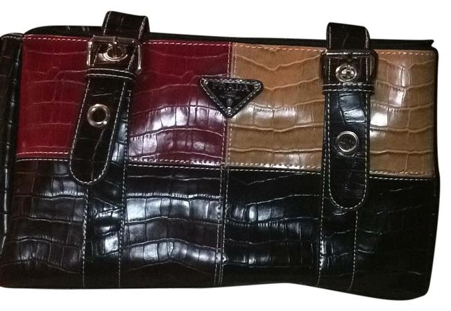 Item - Black Red and Yellow Leather Baguette