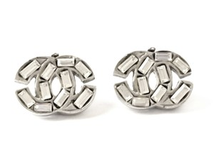 Chanel Chanel Silver Crystal CC Classic Earrings