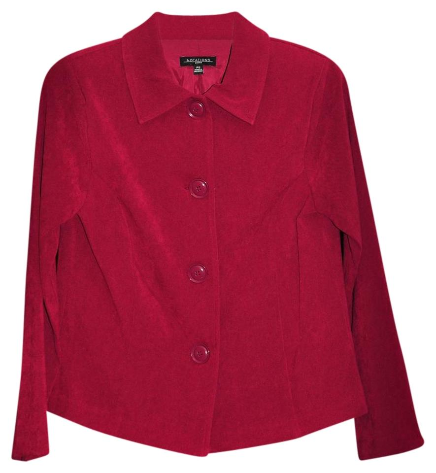 d66a80a1dc00c Notations Red Blazer Size Petite 4 (S) - Tradesy