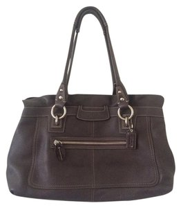 Coach Shopper Black Pebbled Leather Satchel in Brown