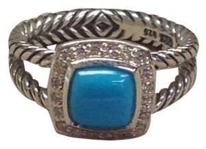 David Yurman David Yurman Petite Albion Ring With Turquoise and Diamonds, Size 8.