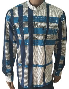 Burberry Brit Button Down Shirt Blue Multicolor