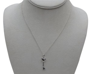 Tiffany & Co. Sterling Silver Heart key with 1 diamond pendant Necklace 17