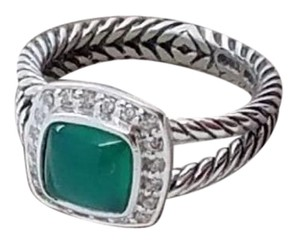 David Yurman David Yurman Sterling Silver Petite Albion Ring with Green Onyx