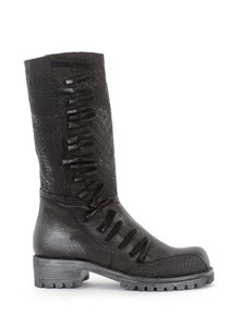 Papucei Eclectic Funky Leather Bows European Black Metal Boots