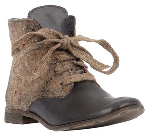 Papucei Eclectic Funky Leather Bows European Gray Brown Boots