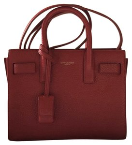 Saint Laurent Calfskin Leather Nano Tote in Red