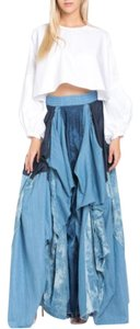 TOV Holy Maxi Long Patchwork Maxi Skirt Denim