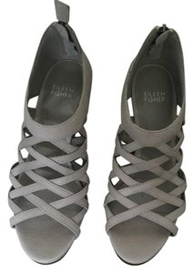 Eileen Fisher Sandals Leather Grey Wedges