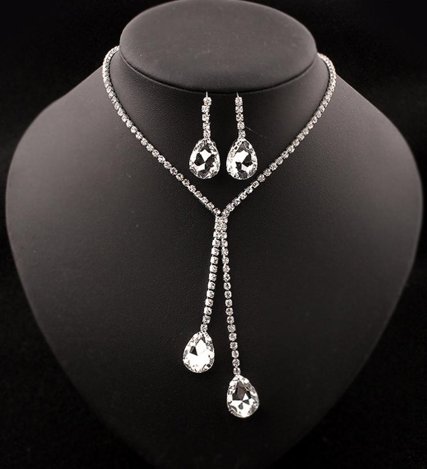 53b0532fd Crystal Drop Earring Necklace Prom Jewelry Set - Tradesy