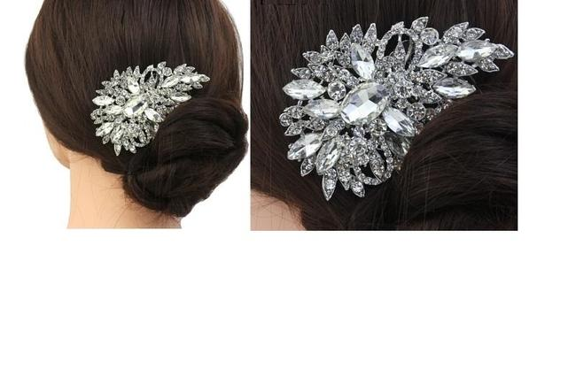 Item - Silver/Crystal/Pearl Comp Pink Cluster New Wedidng Hair Accessory