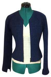 Chanel Vintage Wool Chic Fitted Dark Blue Jacket