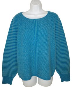 Sundance Blue Lambswool Wool Ribbed Sweater