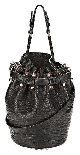 Item - Small Diego In with Rose Gold Black Pebbled Leather Shoulder Bag