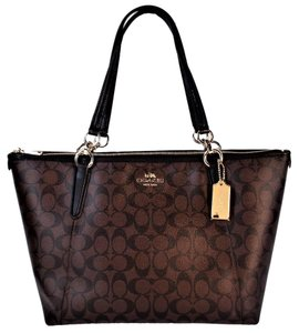 Coach Signature Canvas Tablet Tote in Brown / Black